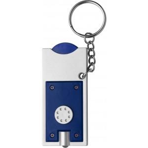 Világítós kulcstartó érmetartóval, műanyag